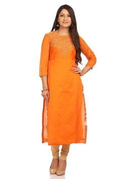 Orange  poly cotton kurta tailored in straight fit with zari floral embroidered neck and piping details at sleeves.