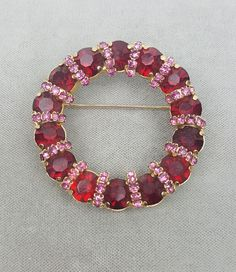 Juliana red and pink rhinestone circle pin wreath brooch estate jewelry #DeLizzaandElster