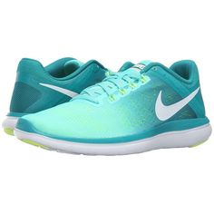 Nike Flex 2016 RN (Hyper Turquoise/White/Rio Teal/Volt) Women's... ($80) ❤ liked on Polyvore featuring shoes, athletic shoes, flexible running shoes, running shoes, lightweight running shoes, breathable shoes and nike