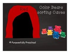 These are caves that I created to use in my own classroom with our color sorting bears. The colors are: Red, Orange, Yellow, Green, Blue and Purple. I also added black and white versions of the caves to be printed out on colored paper. It saves a lot of ink.