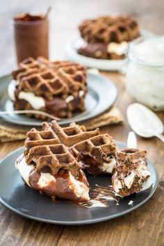 S'mores and Waffles are about to happen in your mouth AT THE SAME TIME! #GlutenFree, #Vegan S'mores Waffles with Sugar-Free Marshmallow Fluff! | Keepin' It Kind