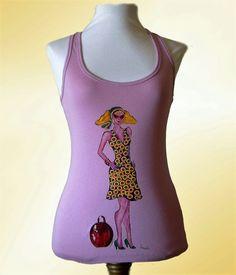 Camiseta mujer. Camiseta algodón. Camiseta pintada a mano. Top color rosa. Regalo para mujer. Camiseta original. Ilustración mujer de irismuse en Etsy
