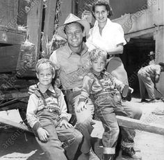 "William Holden with his family on the set of ""Boots Malone"" (1952)"