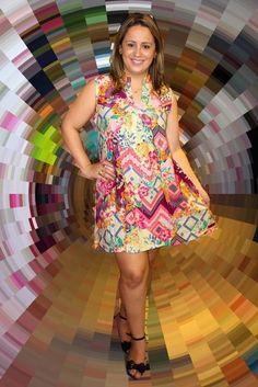 Vestido Curto multi colorido evasê verão