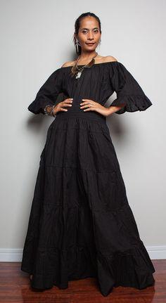 Maxi Dress / Long Black Boho Cotton Dress  Soul of the by Nuichan, $59.00