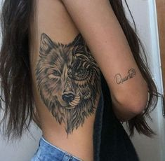 wolf back tattoos for women - wolf back tattoo wolf back tattoo women wolf back tattoos for guys wolf back tattoos for women wolf back tattoo design Wolf Tattoos For Women, Back Tattoo Women, Tattoo Girls, Tattoos For Women Small, Side Tattoos Women, Female Back Tattoos, Wolf Girl Tattoos, Cool Tattoos For Girls, Ohana Tattoo