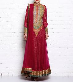 #Wine Cotton Silk & Net #Anarkali #Suit by #Rimple & #Harpreet #Narula at #Indianroots
