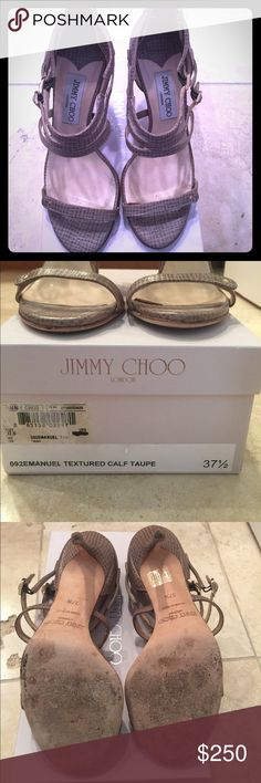 Jimmy Choo 37.5 sling back Taupe Beauty textured calf leather heels in taupe. Jimmy Choo Shoes Heels