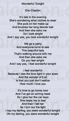 eric clapton wonderful tonight lyrics