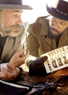 "Christopher Waltz and Jamie Foxx in the new Django: Unchained (""the 'D' is silent""). A 2012 film directed by Quentin Tarantino. Waltz's performances are outstanding and pure. He is without question an amazing actor."