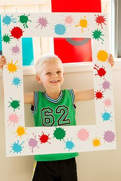 Paint splatter photo frame from a Colorful Art Birthday Party on Kara's Party Ideas Artist Birthday Party, Birthday Painting, 6th Birthday Parties, Craft Birthday Party, Birthday Ideas, Colorful Birthday Party, Craft Party, Kids Art Party, Painting Party Kids