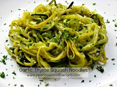 #LowCarb Garlic Thyme Squash Noodles Shared on https://www.facebook.com/LowCarbZen