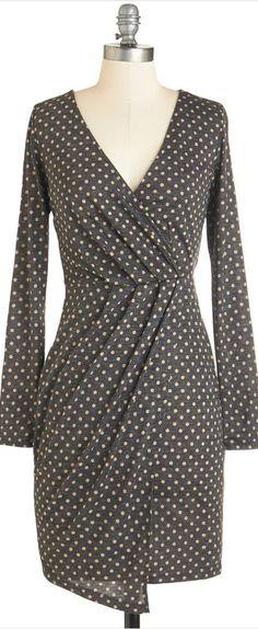 draped dot dress
