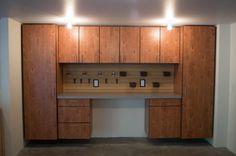 Premium Cabinet In Rustic Alder With Brush Aluminum Laminate Top And Organizers