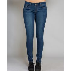 Denim Dreams Classic Skinny Jeans ($30) ❤ liked on Polyvore featuring jeans, med wash, wet seal, low rise skinny jeans, super stretch jeans, zipper jeans and stretch jeans