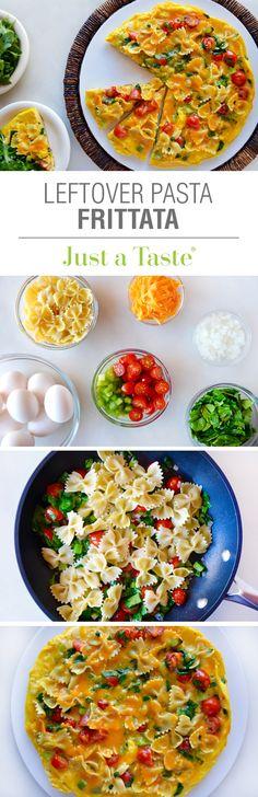Leftover Pasta Frittata #recipe via justataste.com