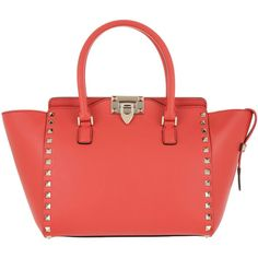 Valentino Handle Bag - Rockstud Tote Calfskin Tomato - in red - Handle... (£1,329) ❤ liked on Polyvore featuring bags, handbags, tote bags, red, handbag purse, red tote bag, red tote, purse tote and zipper tote