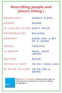 Planning to visit the France? Check out this list of slang French words to describe people and places + download the list in PDF format for free! Check it out at https://www.talkinfrench.com/french-vocab-describing-peopleplace/