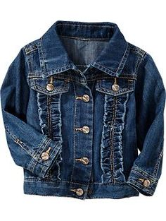 Old navy ruffle front denim jackets for baby toddler girl style, toddler girl outfits, Cute Outfits With Shorts, Cute Outfits For Kids, Girly Outfits, Baby Outfits, Toddler Girl Style, Toddler Girl Outfits, Toddler Fashion, Baby Girl Closet, Girls Fall Fashion