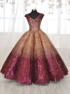 Cap Sleeve Ombre Sequin Quinceanera Dress by House of Wu 26925 19620e79cfc7