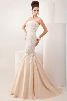 Meerjungfrau-Linie / Mermaid-Stil trägerloser Ausschnitt Sweep/Brush Train Spitzen Tülle Kleid - $159.99
