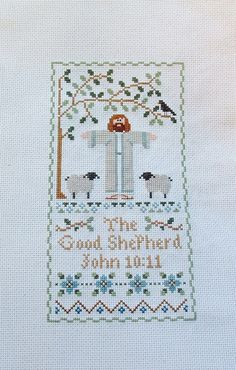 Bible Religion The Good Shepherd John 10:11 Handmade Completed Counted Cross Stitch