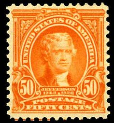 1903, 50¢ orange (Scott 310), o.g., never hinged, exceptional example of this lovely stamp, rarely found in pristine mint condition, nicely centered with brilliant color, Very Fine, with photocopy of 1992 P.F. certificate for block of 4, from which this stamp was taken, this being the upper right stamp from block.   Scott $ 1,200.   Estimate $ 1,000 - 1,500.    Dealer  Kelleher Auctions    Auction  Minimum Bid:  500.00 USD