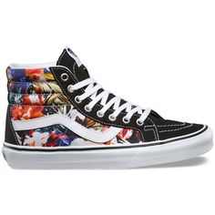 Vans Cuban Floral SK8-Hi Reissue ($70) ❤ liked on Polyvore featuring shoes, sneakers, white, floral print sneakers, white trainers, white sneakers, high top shoes and floral sneakers