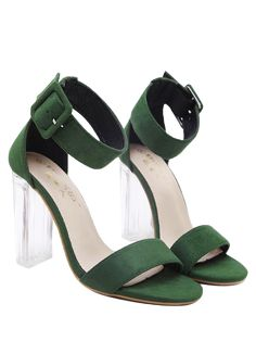 0291386173 Flock Ankle Strap Crystal Heel Sandals - GREEN 38 Ankle Strap Shoes, Wrap  Shoes,