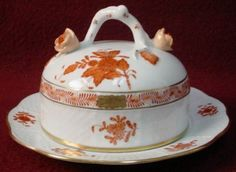 Herend China Chinese Bouquet Rust Pattern 393 Round Covered Butter Dish Lid | eBay