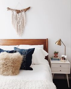"west elm on Instagram: ""Said it before + we'll say it again: you can't go wrong with white bedding. Loving @newdarlings' mid-century themed-bedroom and mixed patterns! #mywestelm #bymybed"""