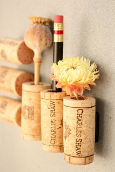 "Wine cork magnets DIY - These could be really fun as ""fridge magnet blocks"" for my little one to play with."
