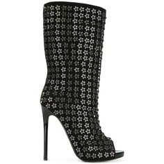 Philipp Plein star studded booties ($2,386) ❤ liked on Polyvore featuring shoes, boots, ankle booties, black, black ankle booties, black open toe booties, open toe ankle booties, black stilettos and black studded booties