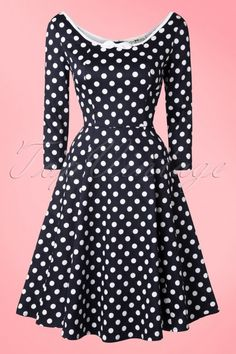 Collectif Clothing Willow Polkadot Navy Blue Swing Dress 102 39 16122 20150921 0018