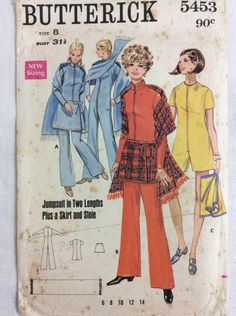 1960s Mod jumpsuit and wrap skirt & stole Butterick 5453 vintage sewing pattern Bust 31.5 Waist 23 Hip 33.5 retro 60s Mad Men preppy style by 101VintagePatterns on Etsy