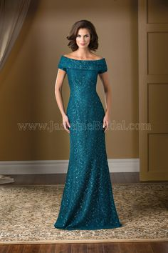 Jasmine Bridal Mother of the Bride/Groom Dress Jade Couture Style K178016X in Teal. Feel glamorous and sophisticated wearing this beautiful lace dress. The boat neckline of this dress is accentuated with a draped cowl neckline detail, and combined with the classic A-line skirt, the dress gives off a feeling of timeless elegance.