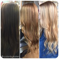 Before - first session - second session. Blonding process. Balayage golden blonde