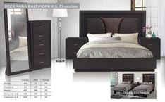 Recamara Baltimore King Size - Chocolate Luxury Bedroom Design, Bedroom Bed Design, Bedroom Decor, Modern Bedroom Furniture Sets, Bed Furniture, Latest Sofa Designs, Furniture Dressing Table, Muebles Home, Double Bed Designs