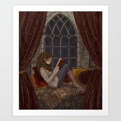Reading Art Print by jennapaddey | Society6