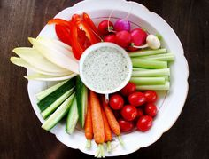 Easy appetizer recipes for a party: Crudite Platter with Green Goddess Dip.