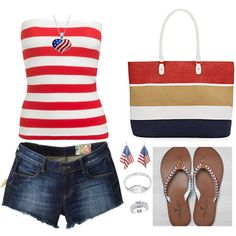 4th of July 488 by adgubbe on Polyvore featuring polyvore, fashion, style, Wet Seal, Siwy, American Eagle Outfitters, Saks Fifth Avenue, Bling Jewelry and Amour