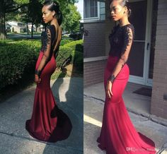 2016 New Sexy Evening Dresses Illusion Neck Black Lace Appliqued Burgundy Satin Mermaid Long Sleeves Open Back Formal Prom Dress Party Gowns Online with $129.85/Piece on Haiyan4419's Store | DHgate.com