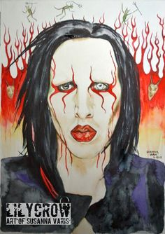 Lucem Ferre - Marilyn Manson by Susanna Varis water color 2010