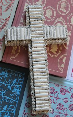Hanging Wall Cross with Rolled Book Pages from by MooseAndNigel, $40.00