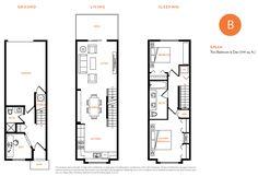 Floor Plan B features two bedroom and den layout.