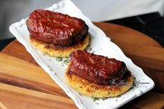 BBQ Meatloaf Stacks - Crispy Creamy Potato Cake Stacks Topped with BBQ'd Meatloaf Slices