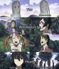 AnoHana, this anime made me cry more than any other. Too much feels. I Love Anime, All Anime, Manga Anime, Clannad After Story, Scott Pilgrim, Kimi No Na Wa, Angel Beats, Mirai Nikki, Icarly