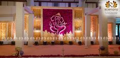 Fill your marriage with most attractive and trendy designs. Scenario guarantees you the best decor for your wedding. India Wedding Decorations, Simple Stage Decorations, Desi Wedding Decor, Flower Decorations, Hall Decorations, Reception Stage Decor, Wedding Stage Design, Wedding Reception Backdrop, Marriage Hall Decoration