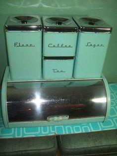 Vintage Turqouise/Aqua Chrome Kictchen Bread Box and Canisters Vintage Canisters, Vintage Kitchenware, Kitchen Canisters, Vintage Tins, Vintage Dishes, Vintage Decor, Vintage Antiques, Love Vintage, Retro Vintage