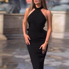 ivrose / Halter Bowknot Design Back Midi Dress Womens Fashion Casual Summer, Office Fashion Women, Black Women Fashion, Womens Fashion For Work, Fashion Fall, Fashion 2018, Fashion Outfits, Fashion Wigs, Dress Fashion